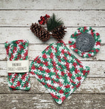 Handmade Christmas Dish Cloths Scrubbie 3 Piece Cotton Dishcloth Set