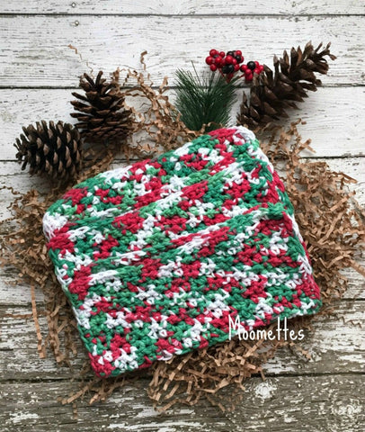 Handmade Cotton Dish Cloths Kitchen Christmas Dishcloths Red Green White