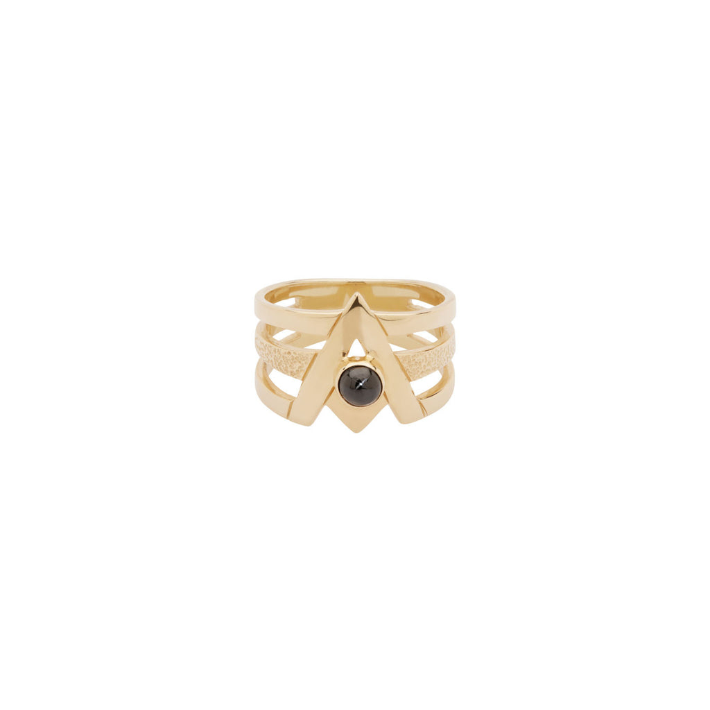 Orbiting Star Pyramid Ring