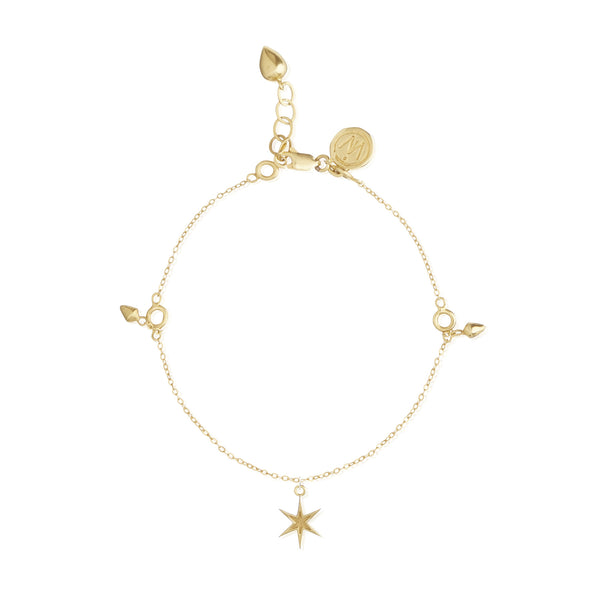Idlewild Orbiting Star Charm Bracelet Gold