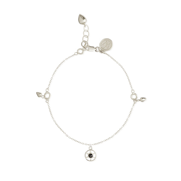 Idlewild Orbiting Star Gem Charm Bracelet Sterling Silver