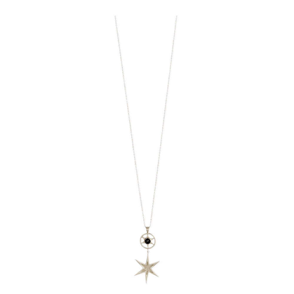 Idlewild Orbiting Star Drop Necklace Sterling Silver