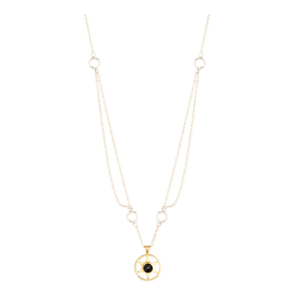 Idlewild Orbiting Star Gem Necklace Gold