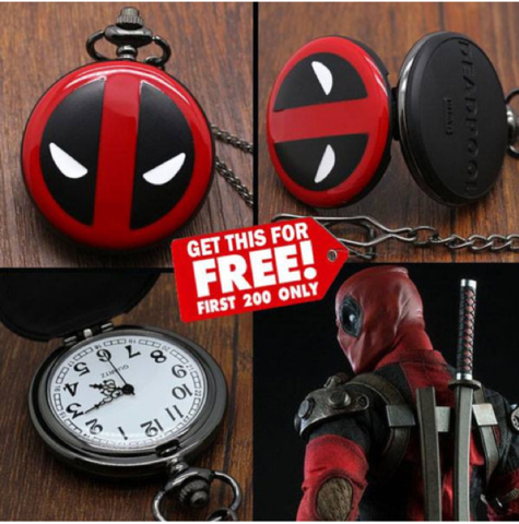 DEADPOOL POCKET WATCH (FREE GIFT) JUST PAY SHIPPING!