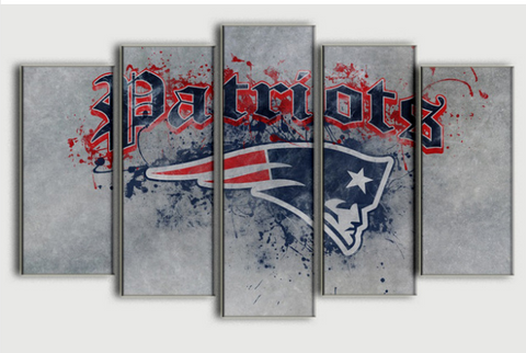 50% OFF - New England Patriots - 5 Panel Canvas Wall Art Decor - ***FREE SHIPPING***
