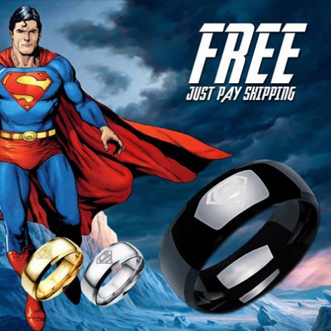 Super Man Ring Titanium Stainless Steel