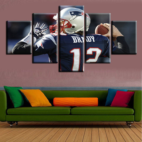 50% OFF - Tom Brady (A) - 5 Panel Canvas Wall Art Decor - ***FREE SHIPPING***