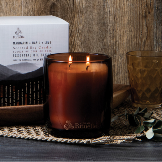 Mandarin, Basil & Lime Scented Soy Candle 400g