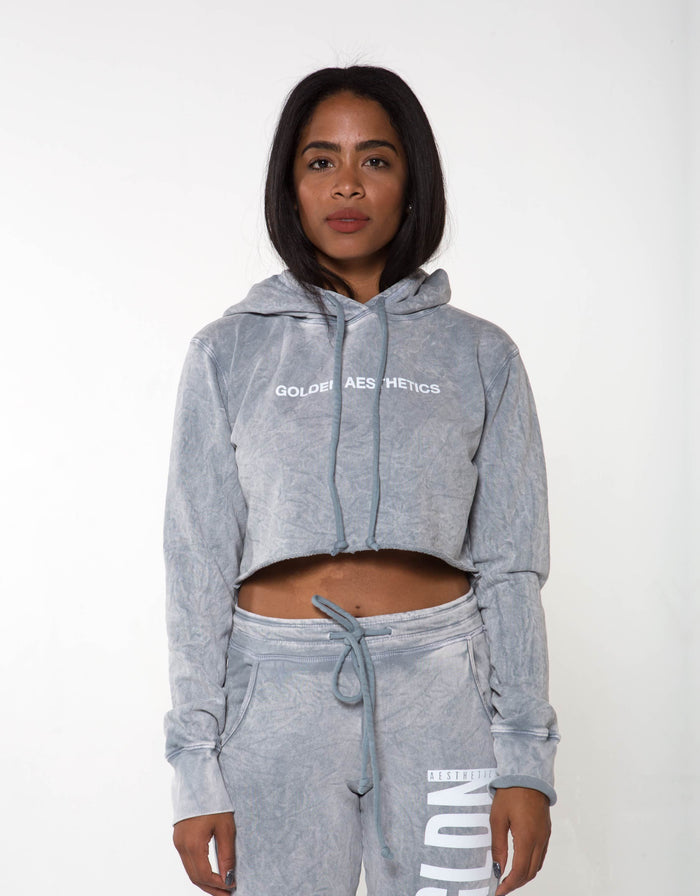 GA Her Raw Crop Hoodie - Marl - Golden Aesthetics