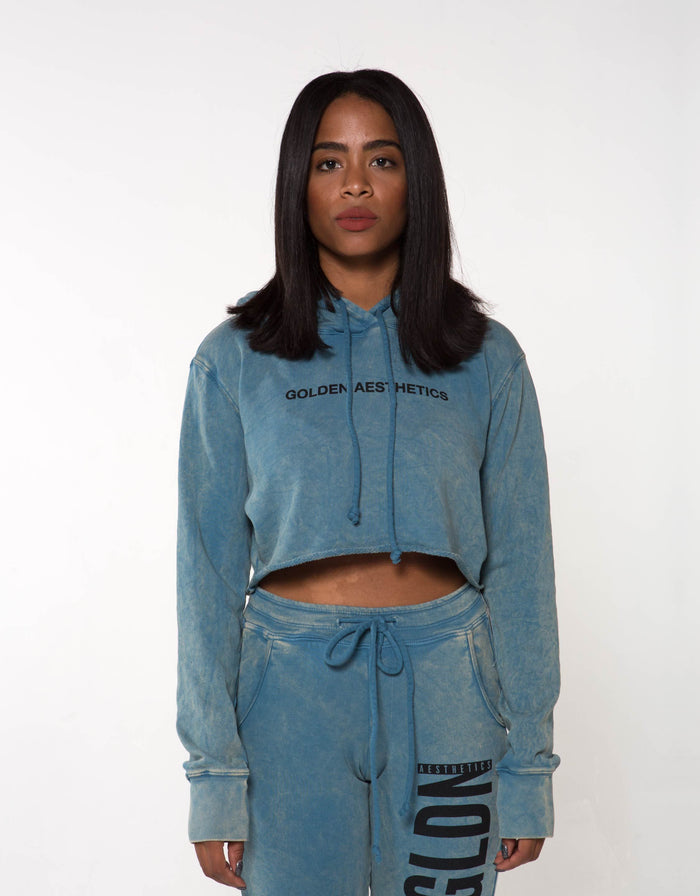 GA Her Raw Crop Hoodie - Blue - Golden Aesthetics