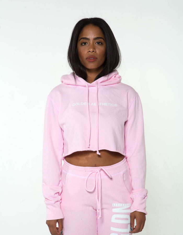 Ga Her Raw Crop Hoodie - Pink - Women Tops