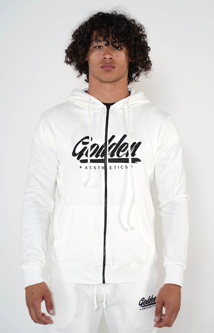 Men's White Golden Hoodie - Golden Aesthetics