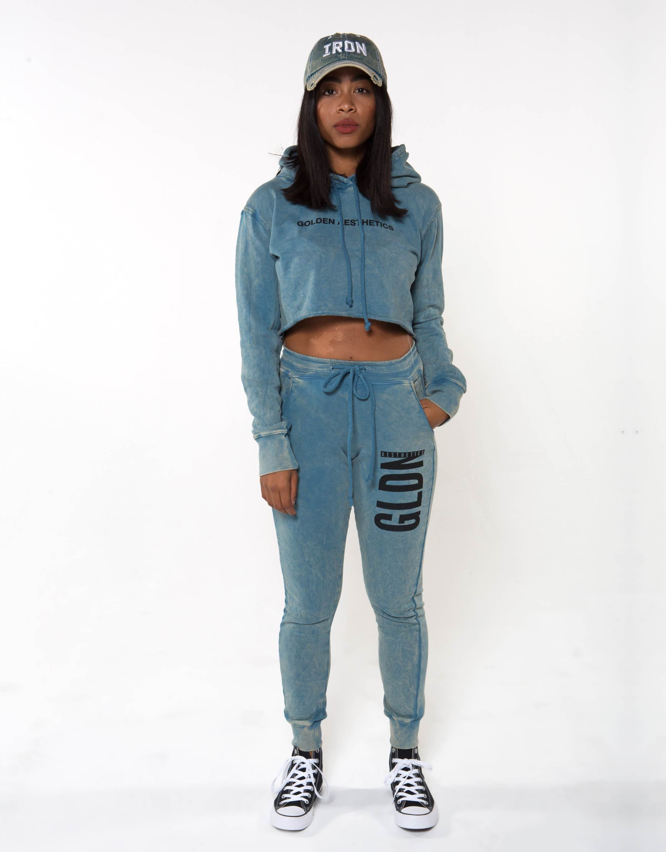 Ga Her Raw Crop Hoodie - Blue - Women Tops