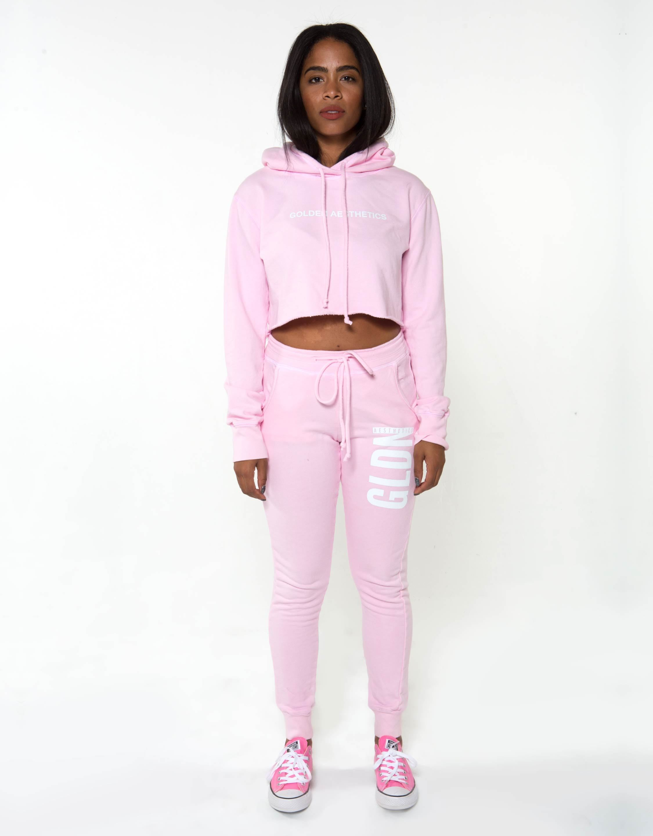 GA Her Raw Crop Hoodie - Pink - Golden Aesthetics