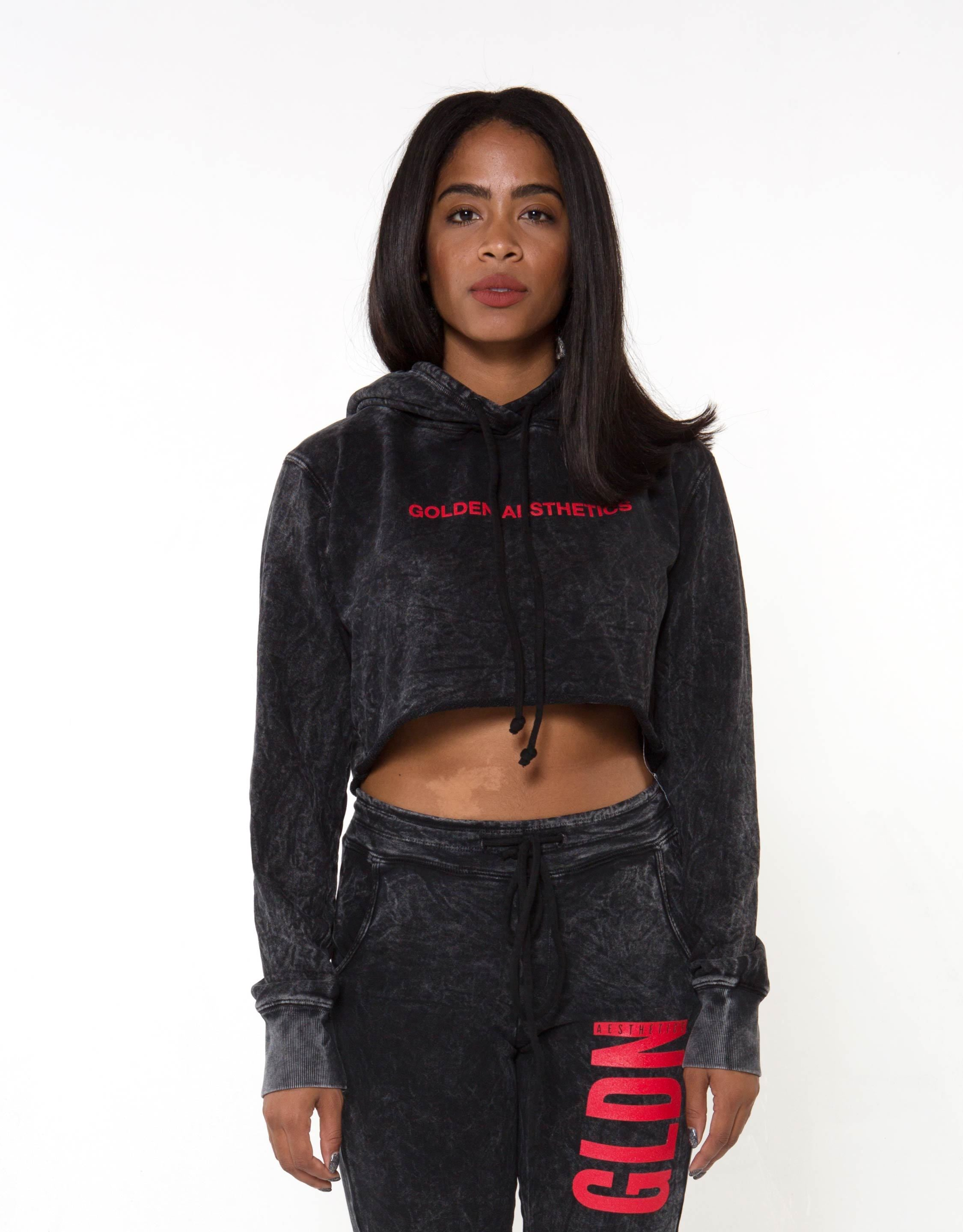 Ga Her Raw Crop Hoodie - Black - Women Tops