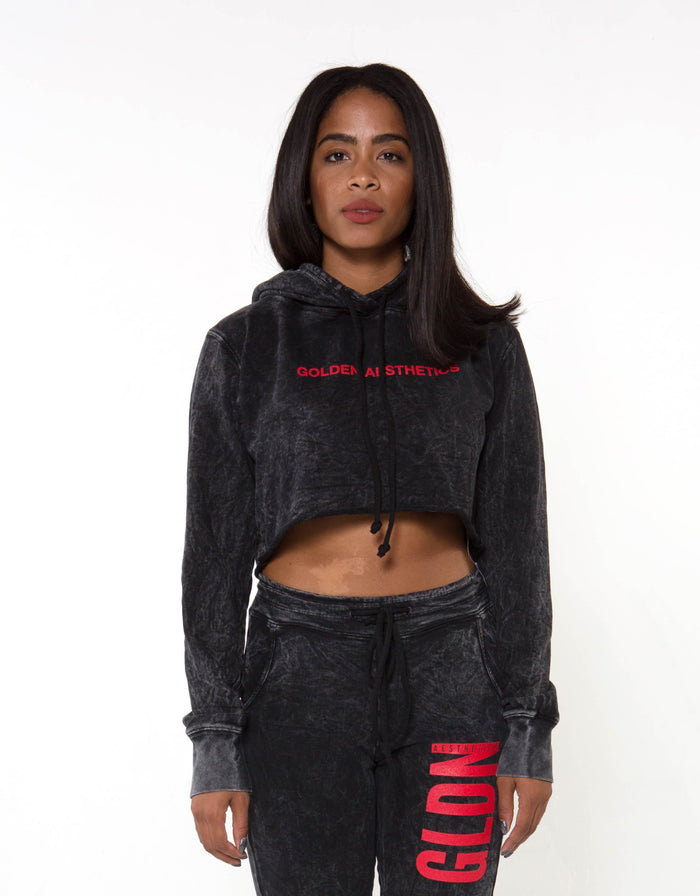 GA Her Raw Crop Hoodie - Black - Golden Aesthetics