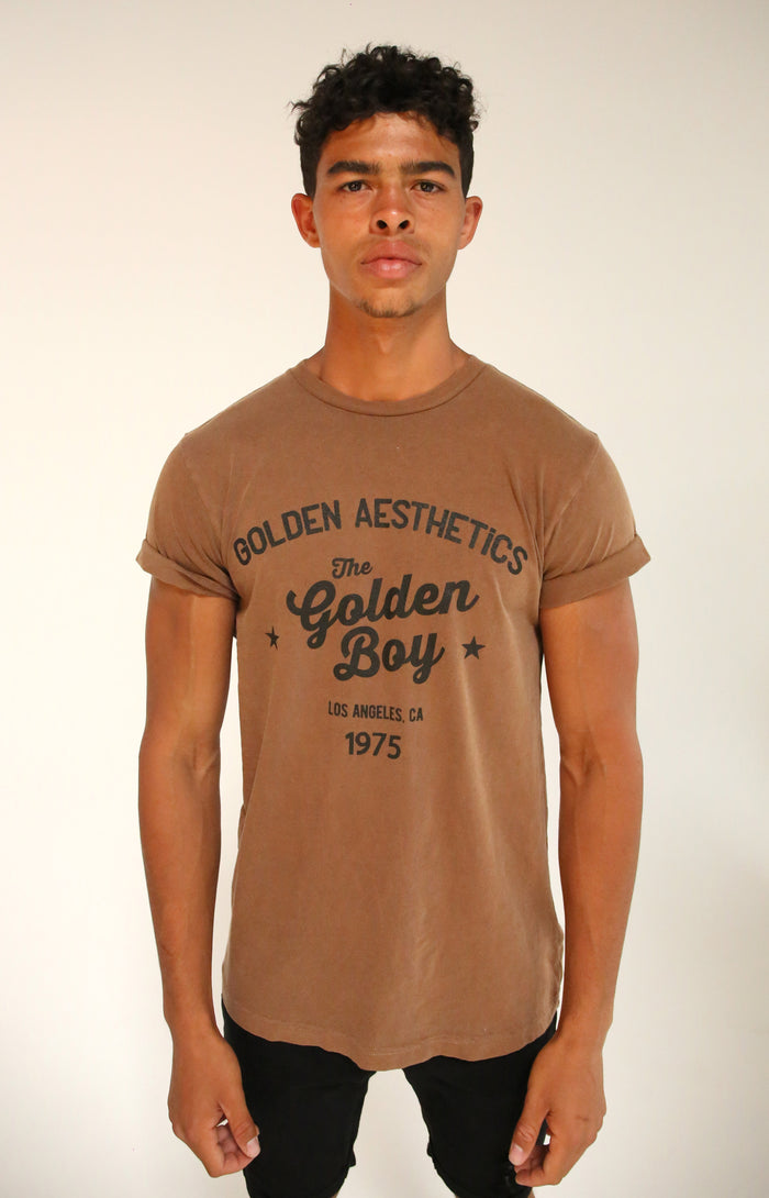 Faded Brown Rolled Sleeve T-Shirt