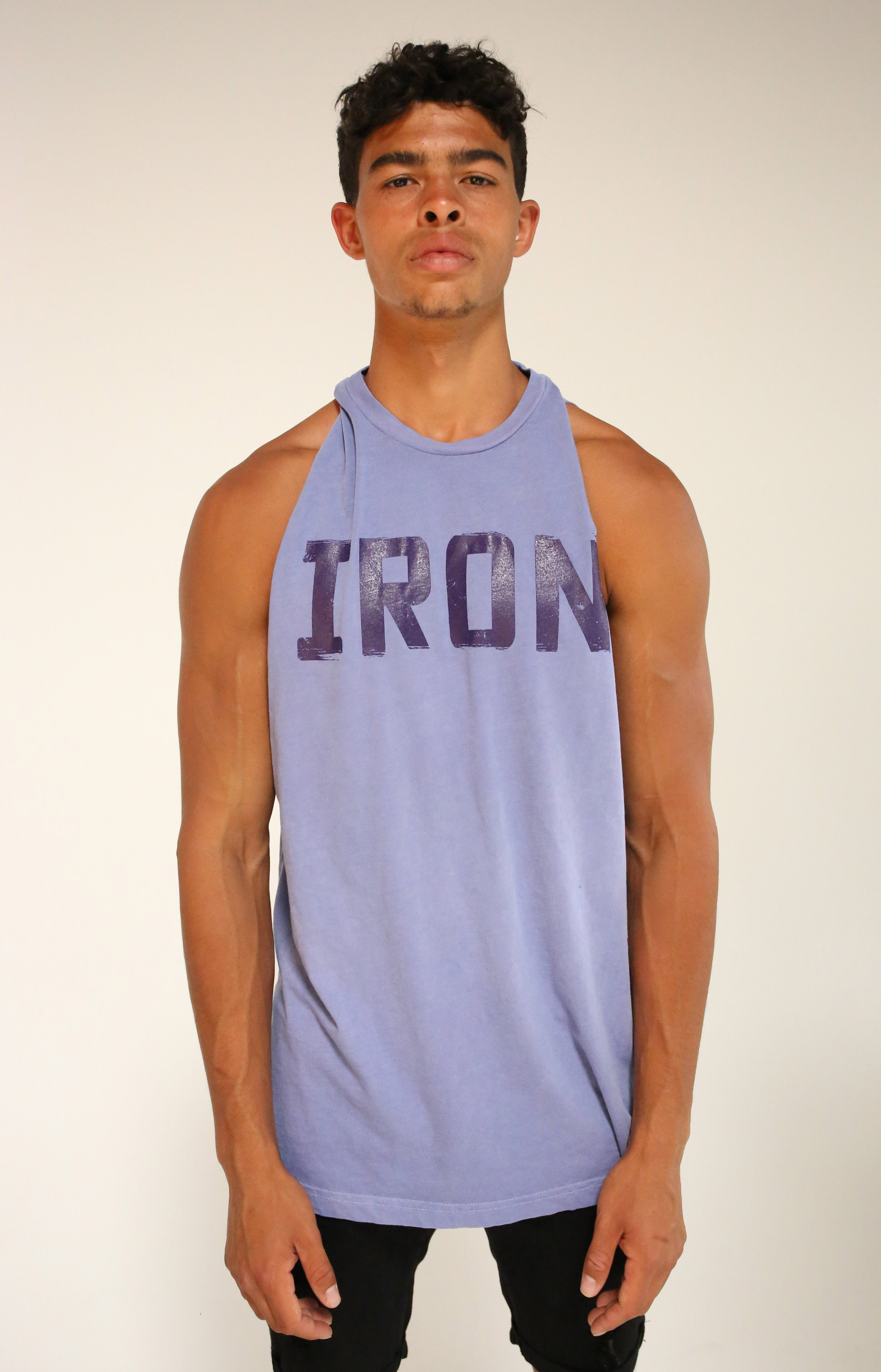 Oversized Faded Purple Iron Muscle Tank