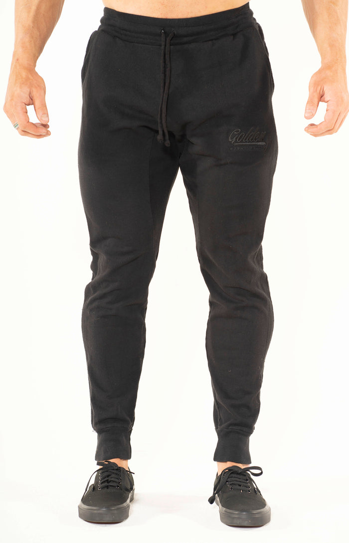 Men's Black Panel Joggers - Golden Aesthetics