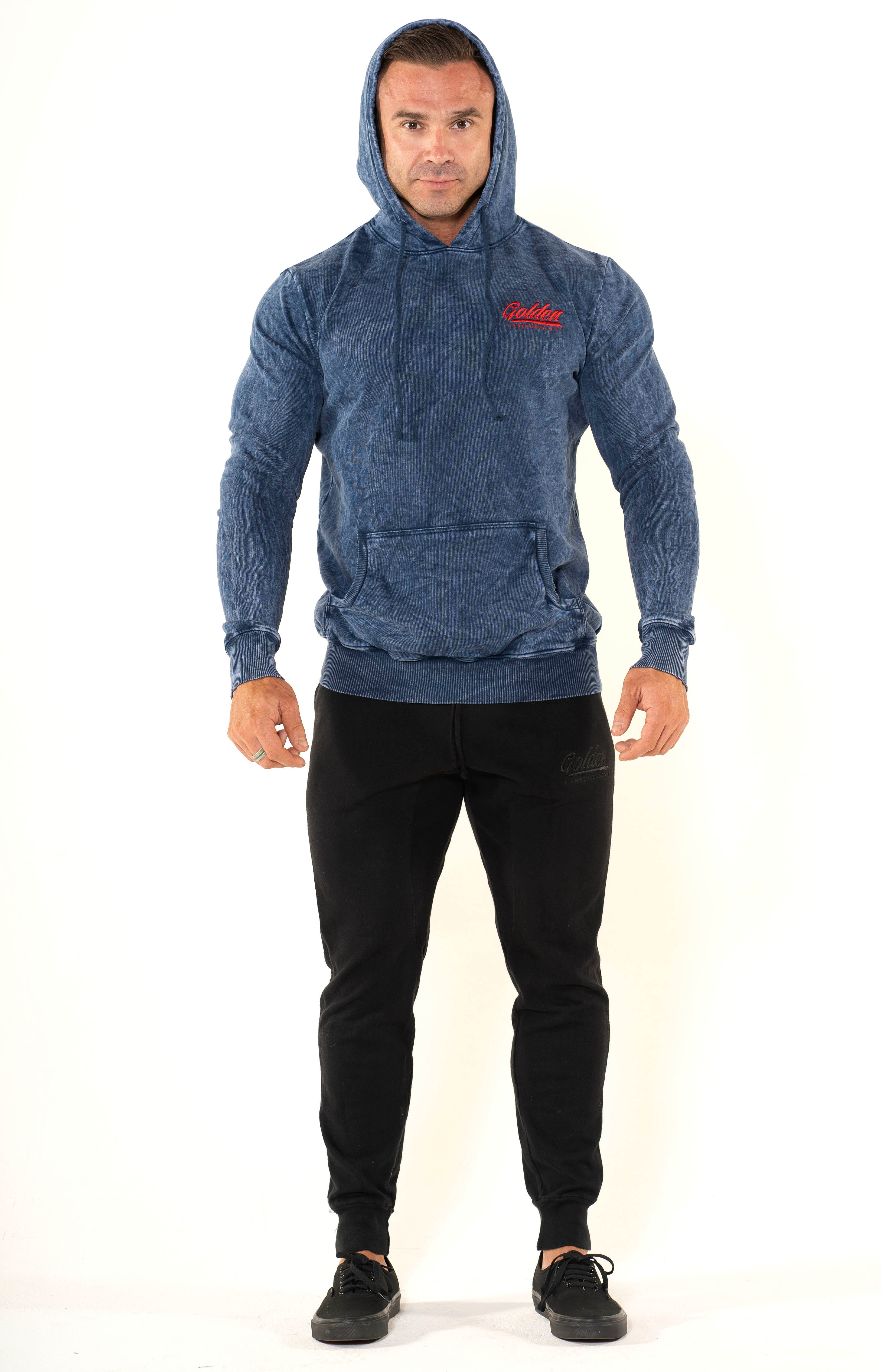 Men's Mineral Navy Pullover Hoodie - Golden Aesthetics