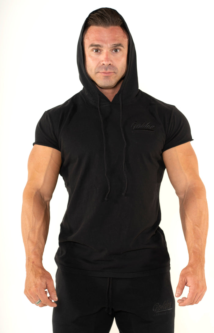 Men's Black Short Sleeve Hoodie - Golden Aesthetics