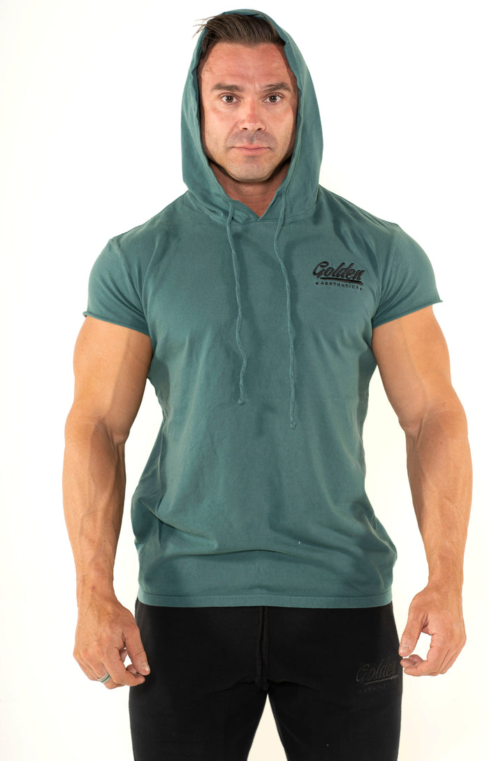 Men's Faded Army Short Sleeve Hoodie - Golden Aesthetics