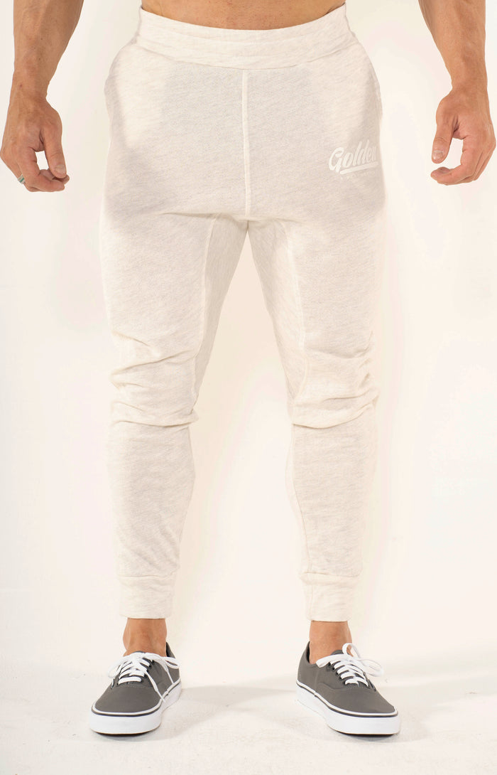 Men's Oatmeal Summer Joggers - Golden Aesthetics