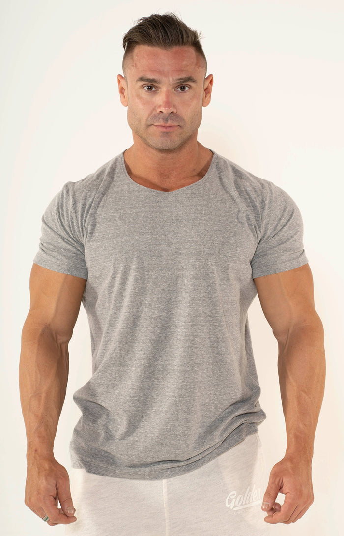 Men's Grey Scoop Neck T-Shirt - Golden Aesthetics