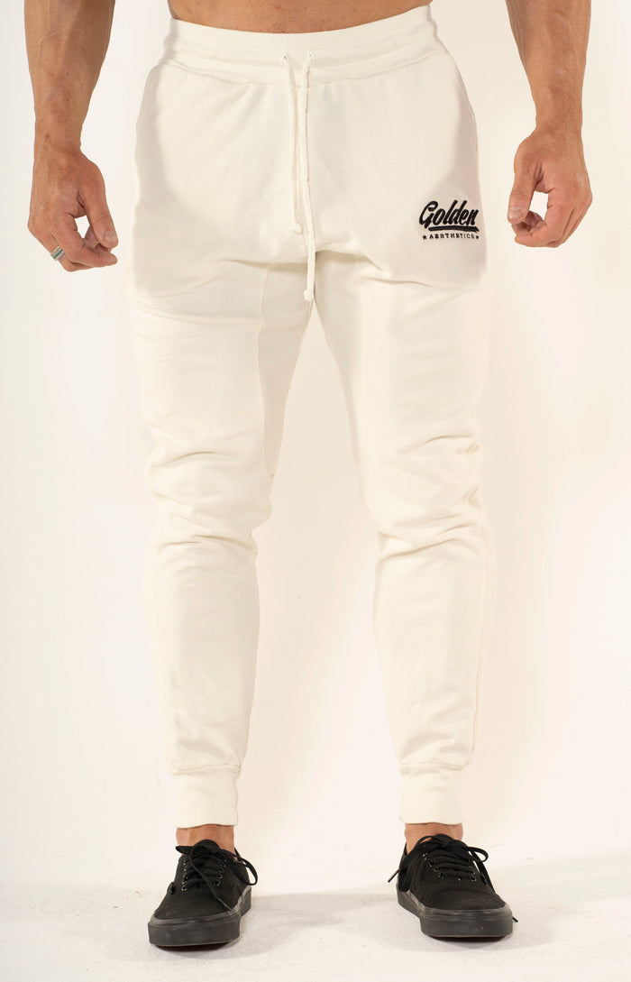Men's Off White Panel Joggers - Golden Aesthetics