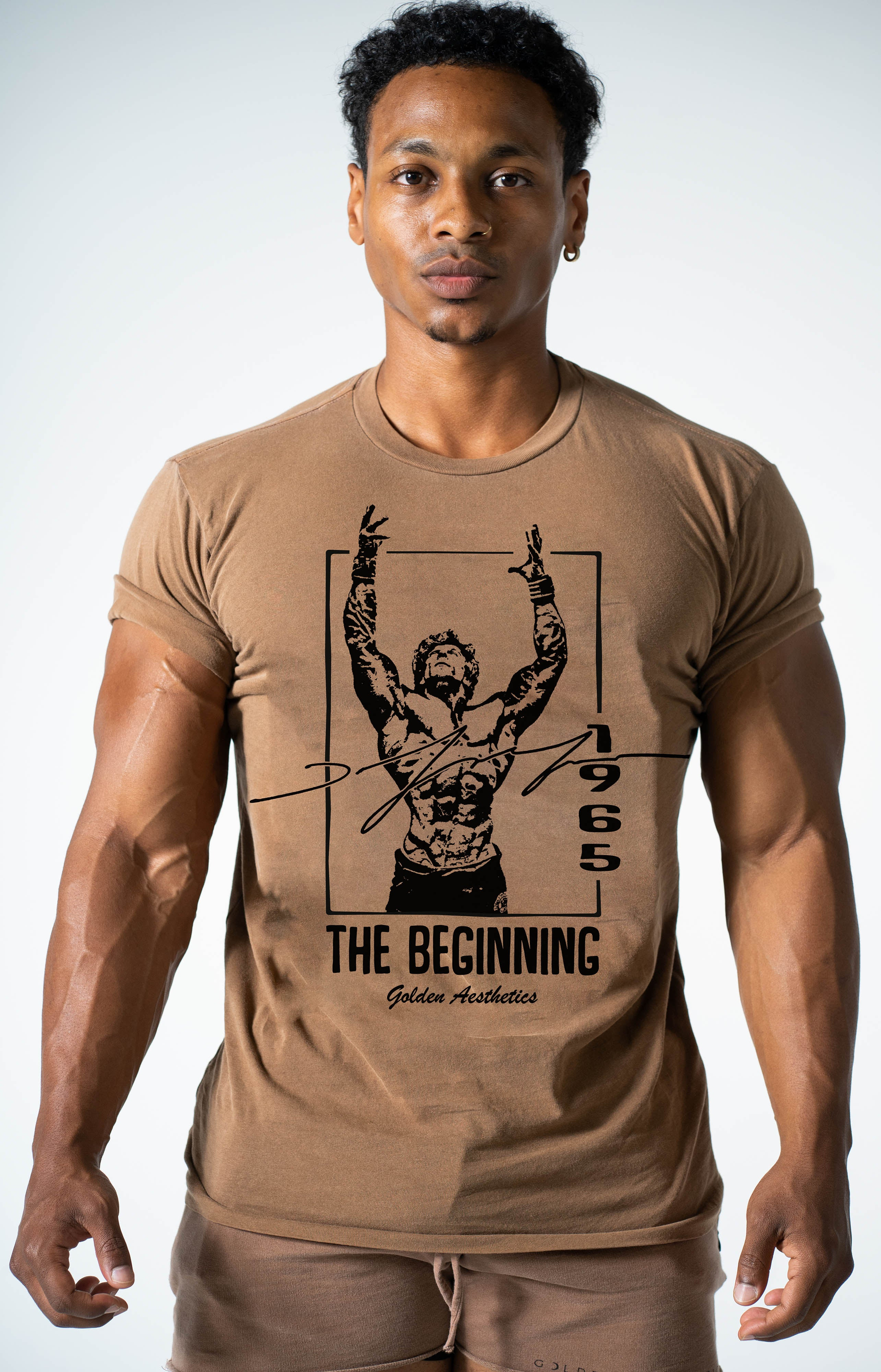 Brown The Beginning Rolled Sleeve T-Shirt