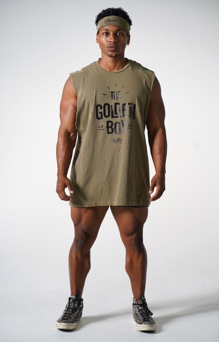 Oversized Faded Army The Golden Boy Muscle Tank