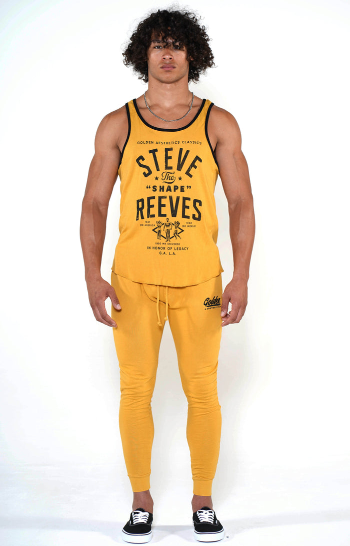 Men's Mustard Steve Reeves Ringer Tank - Golden Aesthetics
