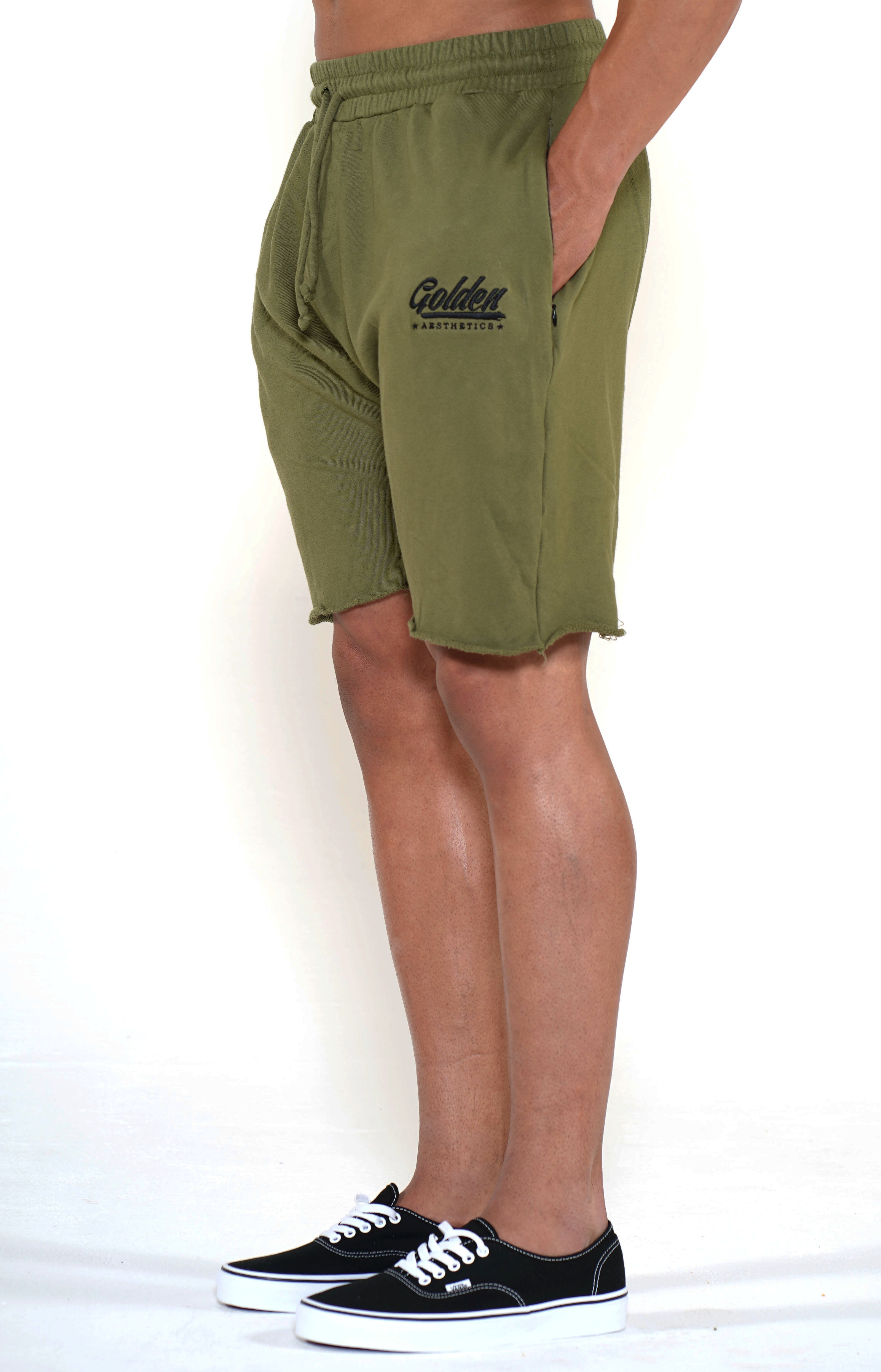 Men's Army Green Classic Shorts - Golden Aesthetics