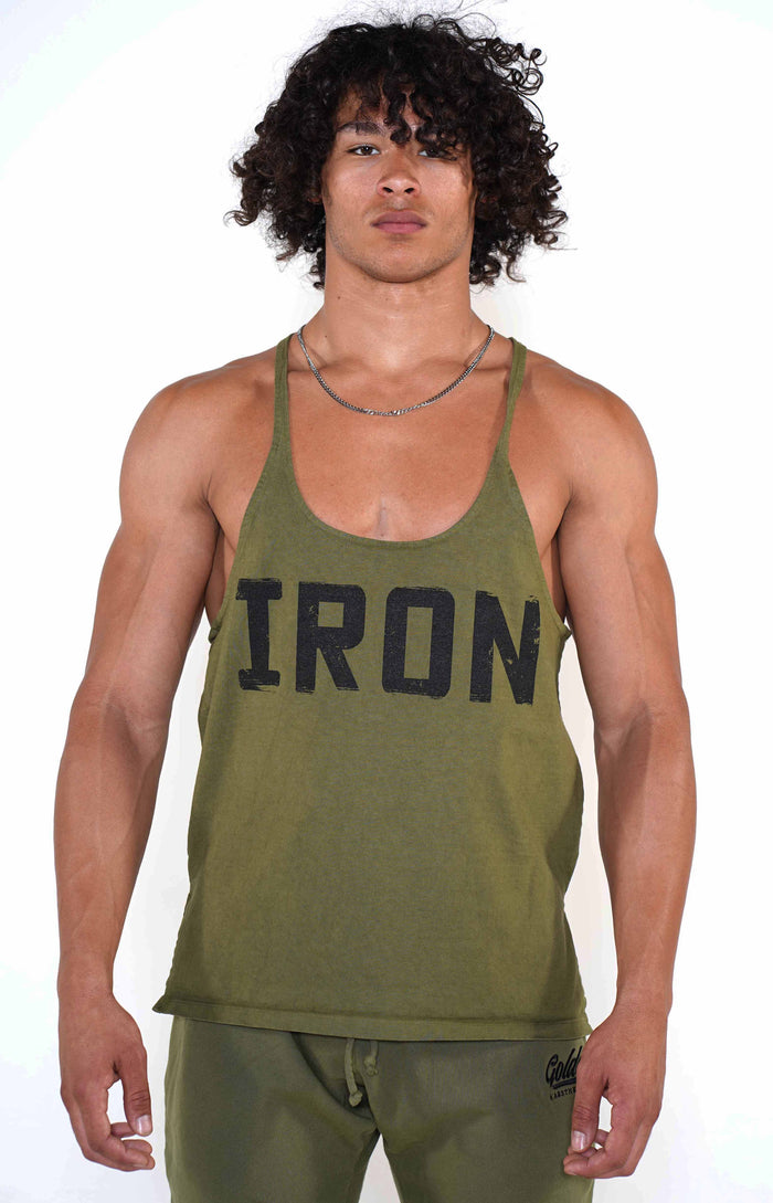 Men's Army Green Original Stringer Tank - Golden Aesthetics