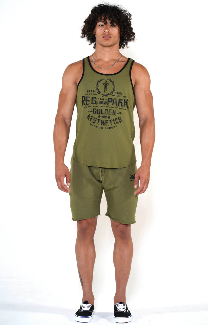 Men's Army Green Reg Park Ringer Tank - Golden Aesthetics