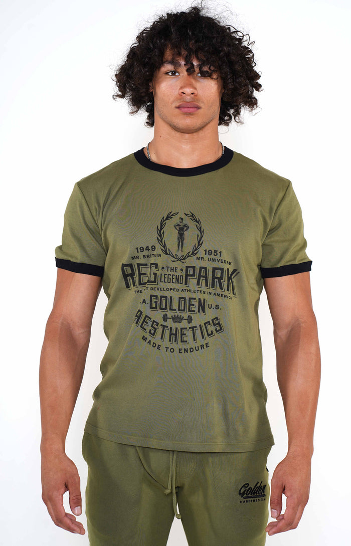 Men's Army Green/Black Reg Park Ringer T-Shirt - Golden Aesthetics
