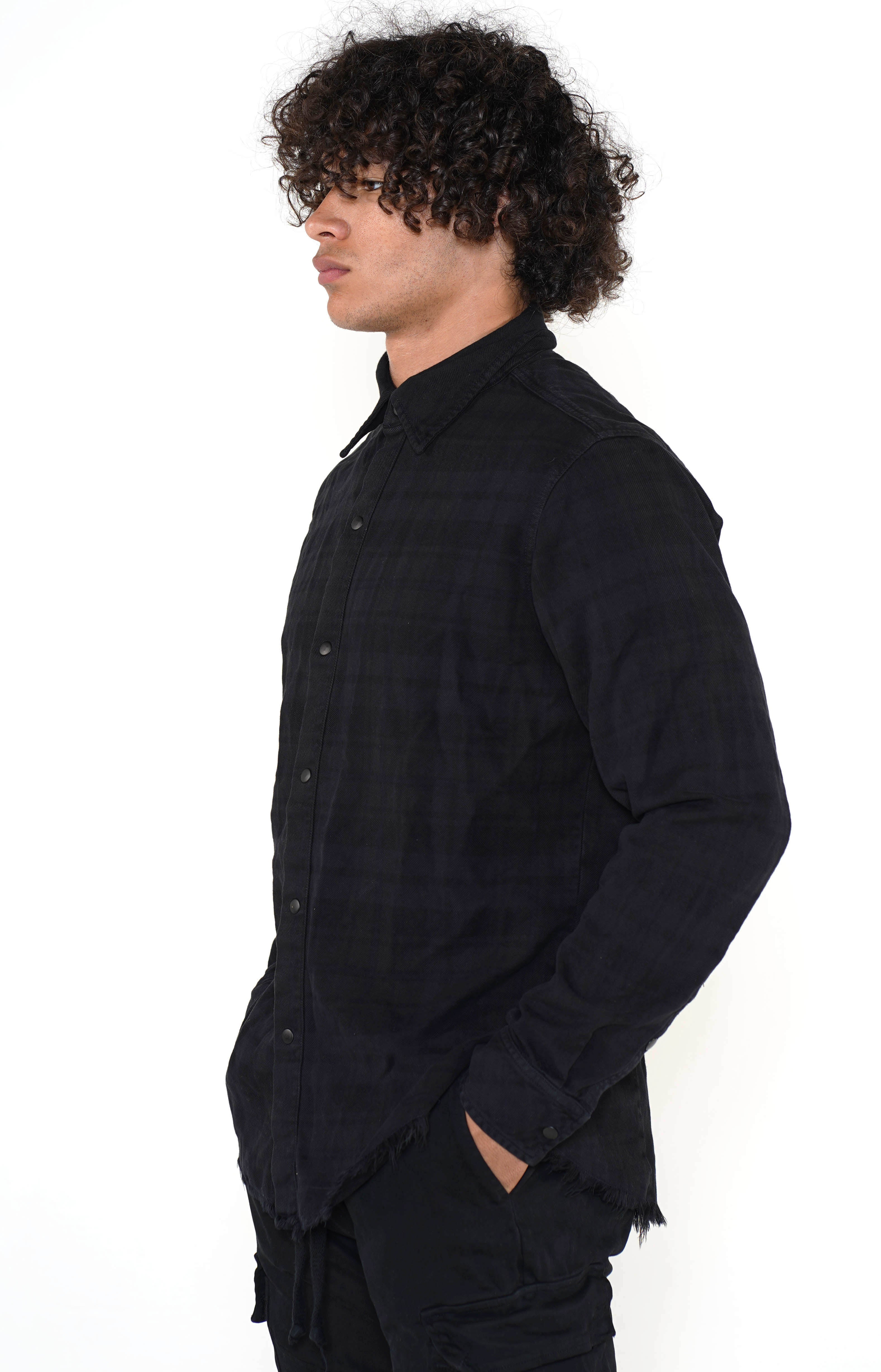 Men's Black Checkered Calligraffiti Flannel - Golden Aesthetics