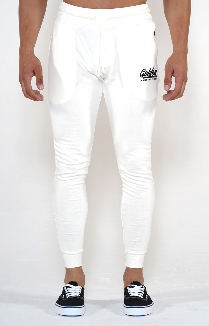 Men's Off White Classic Joggers - Golden Aesthetics
