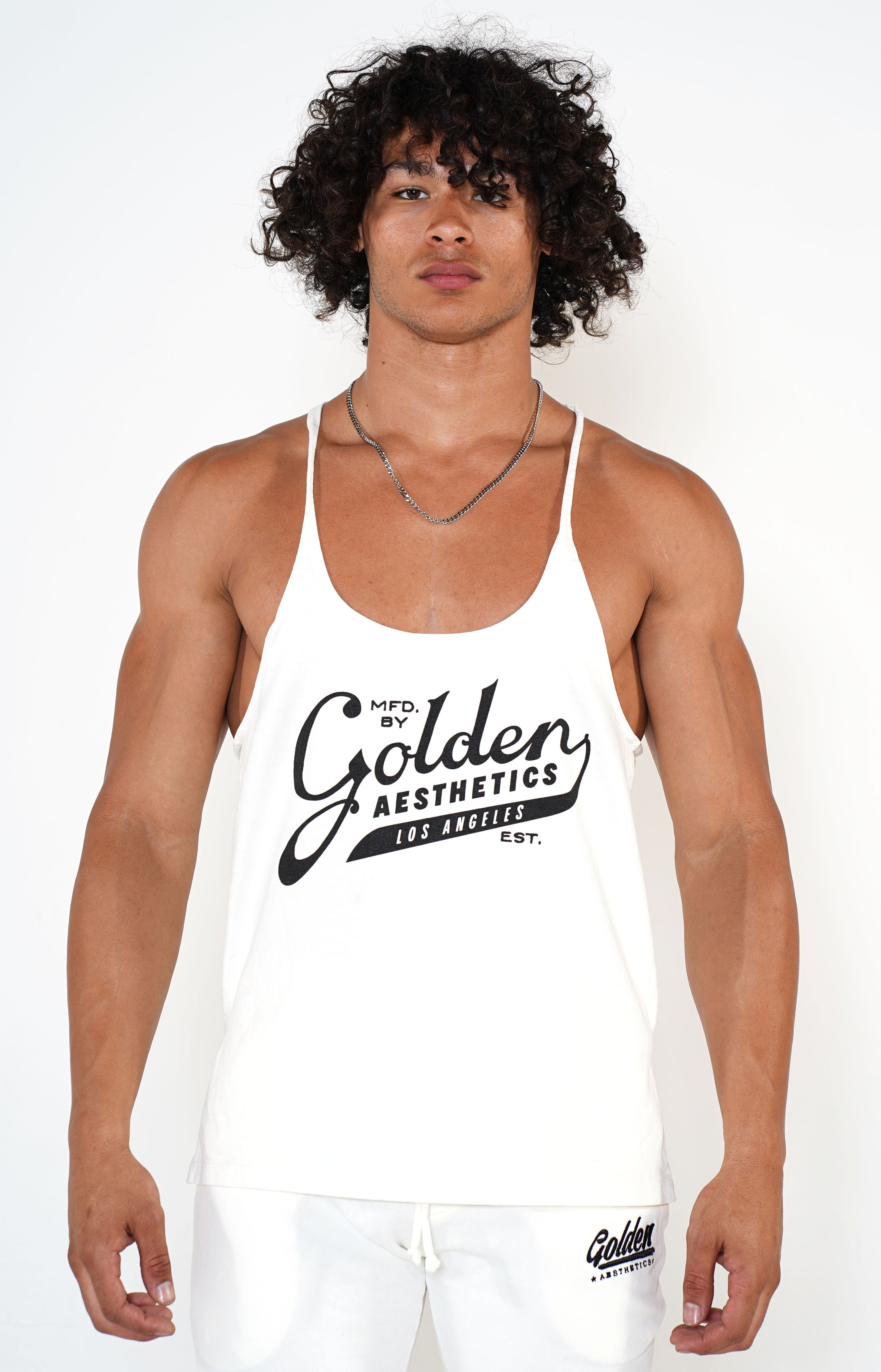 Men's White Original Stringer Tank - Golden Aesthetics