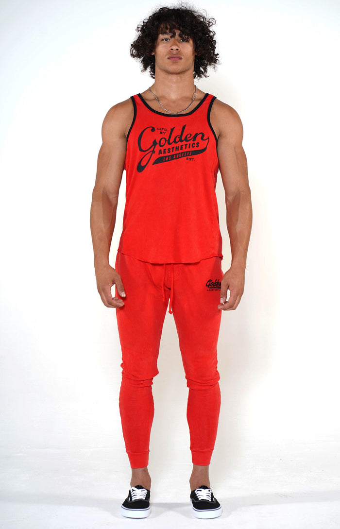 Men's Red/Black Ringer Tank - Golden Aesthetics