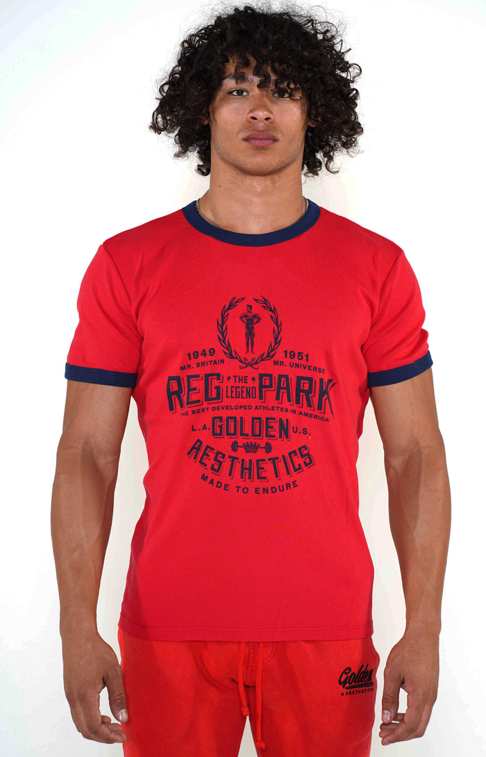 Men's Red/Navy Reg Park Ringer T-Shirt - Golden Aesthetics