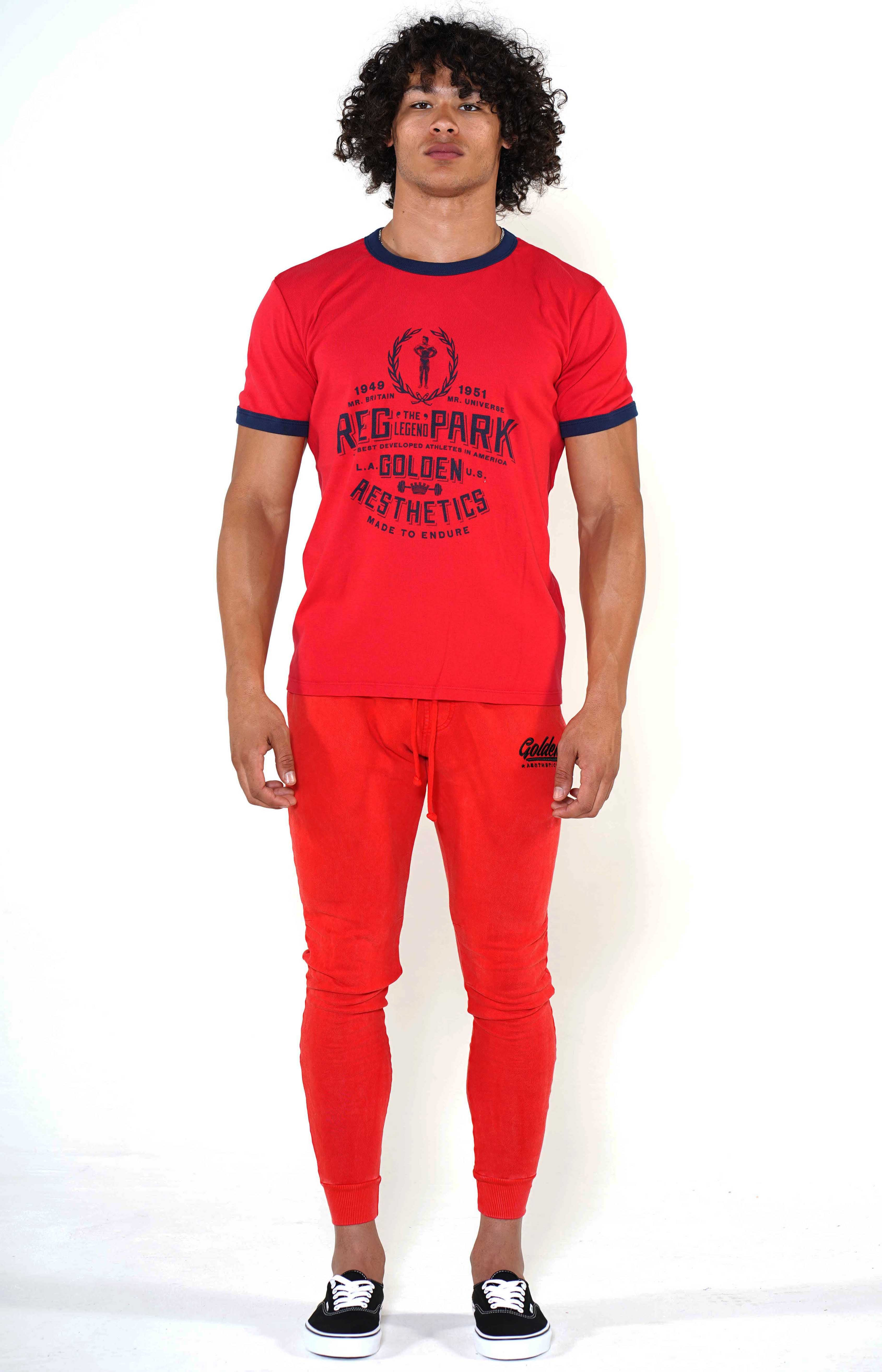 Men's Red/Black Classic Joggers - Golden Aesthetics
