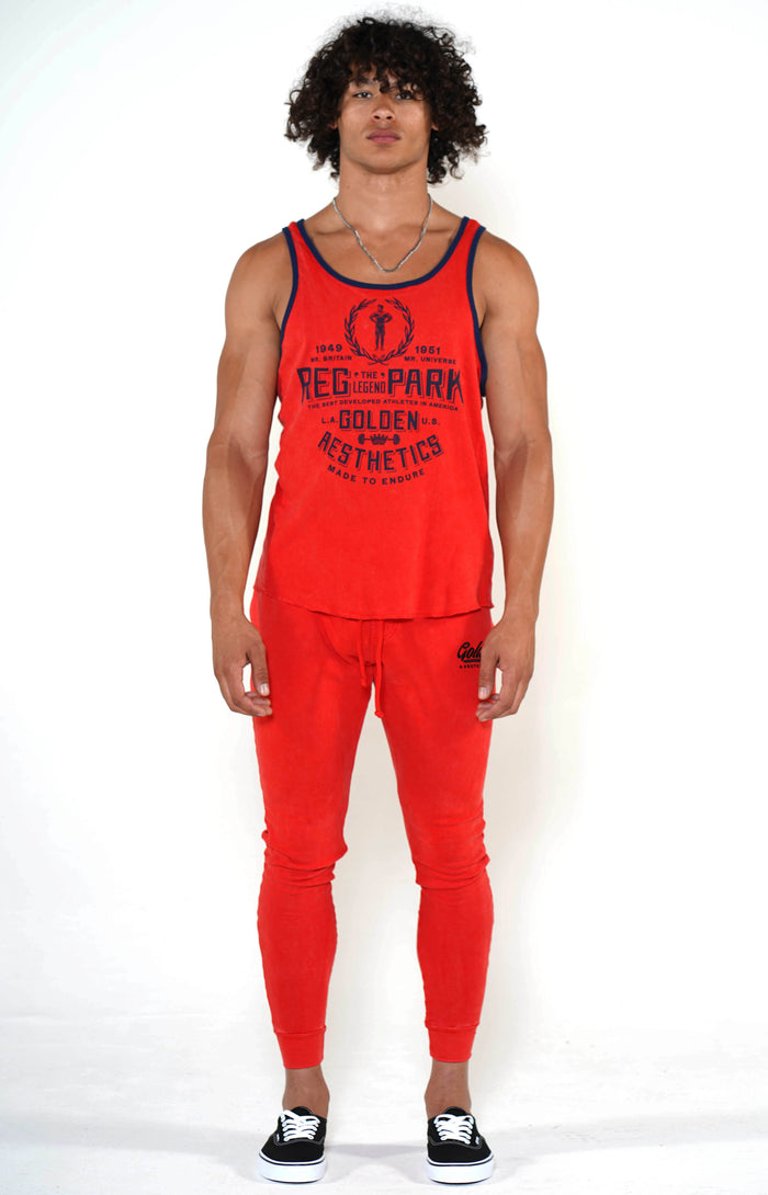 Men's Red/Navy Reg Park Ringer Tank - Golden Aesthetics