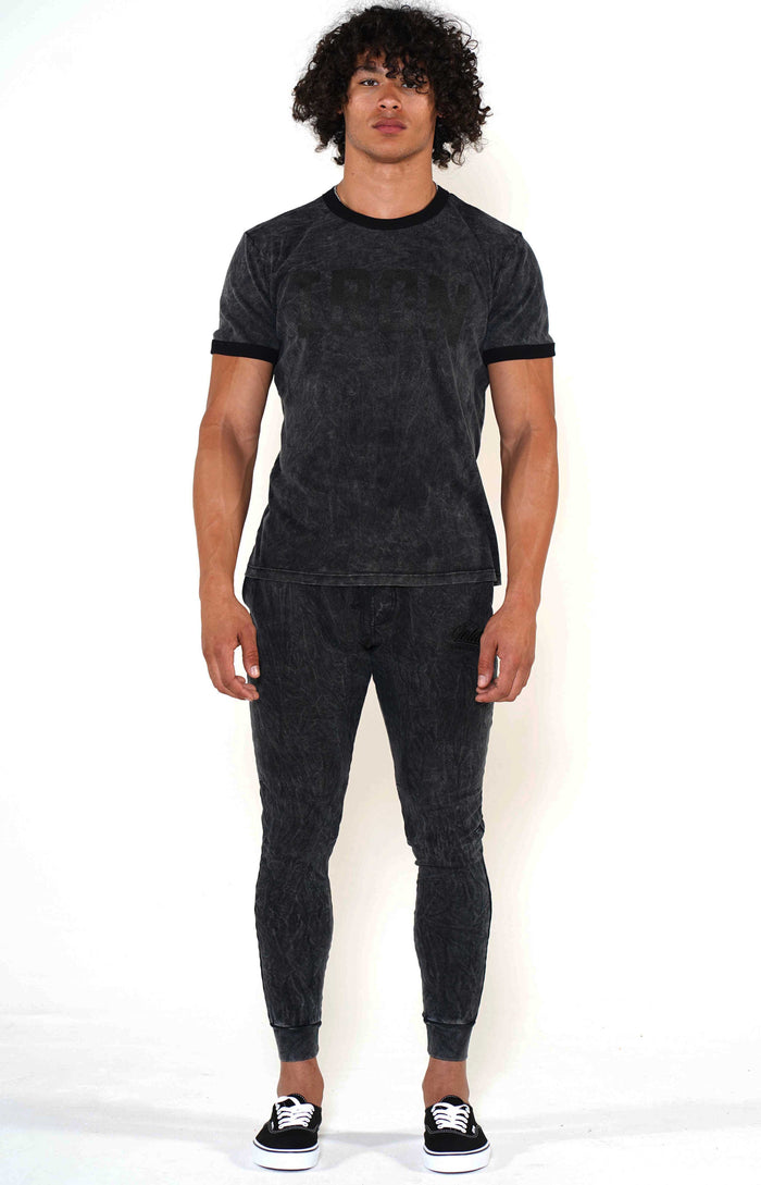 Men's Mineral Black/Black Ringer T-Shirt - Golden Aesthetics