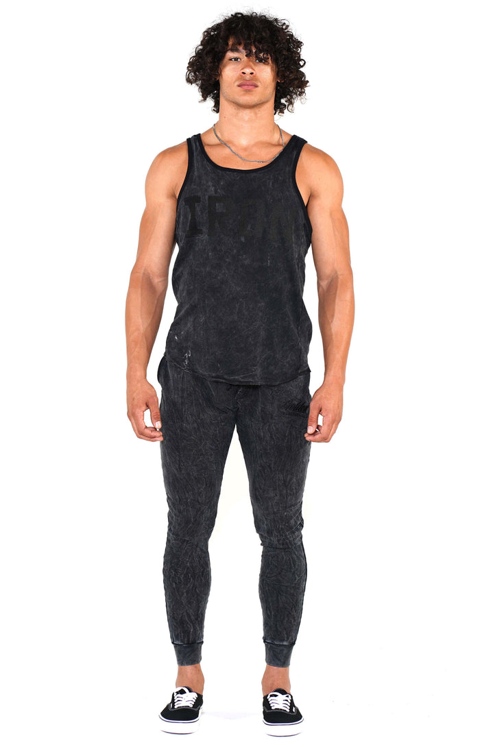 Men's Mineral Black Iron Ringer Tank - Golden Aesthetics