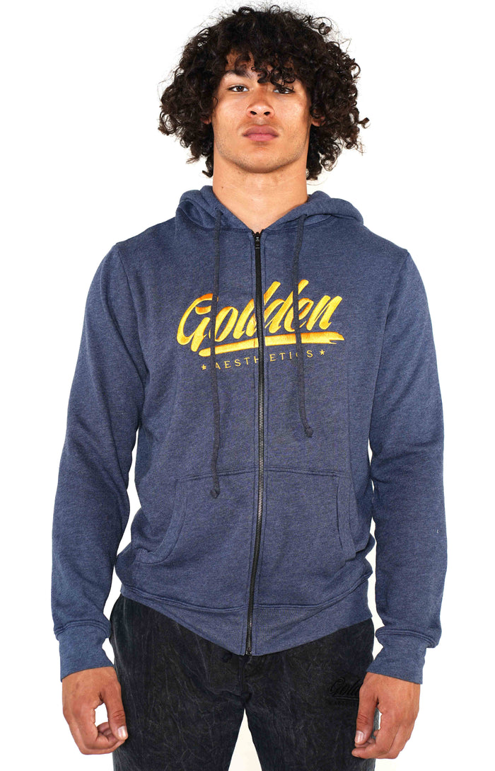 Men's Navy Golden Hoodie - Golden Aesthetics