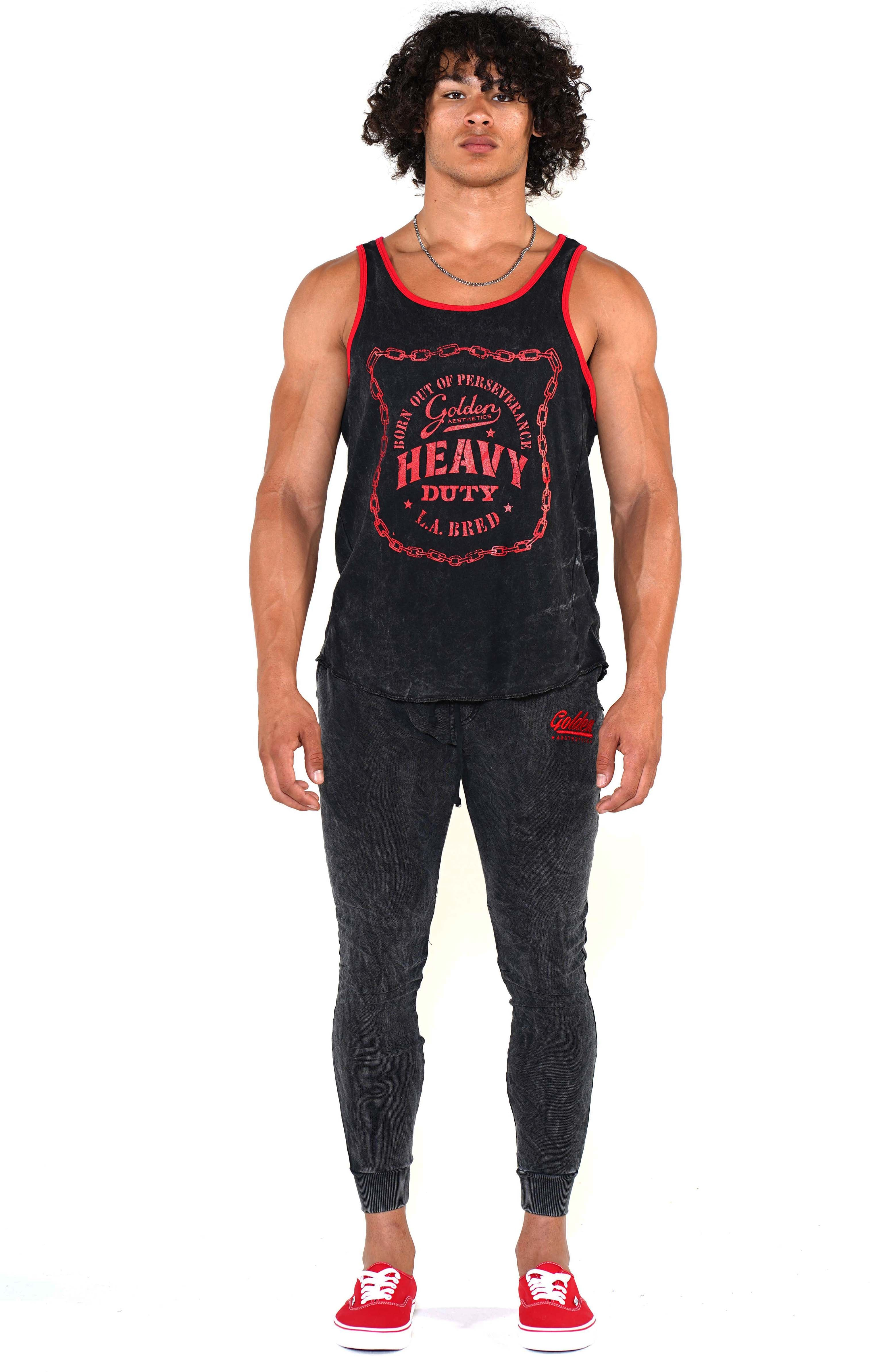 Men's Mineral Black Heavy Duty Ringer Tank - Golden Aesthetics