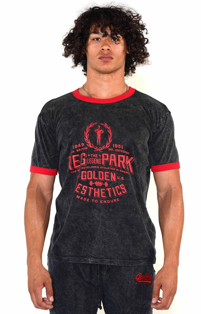 Men's Mineral Black/Red Reg Park Ringer T-Shirt - Golden Aesthetics
