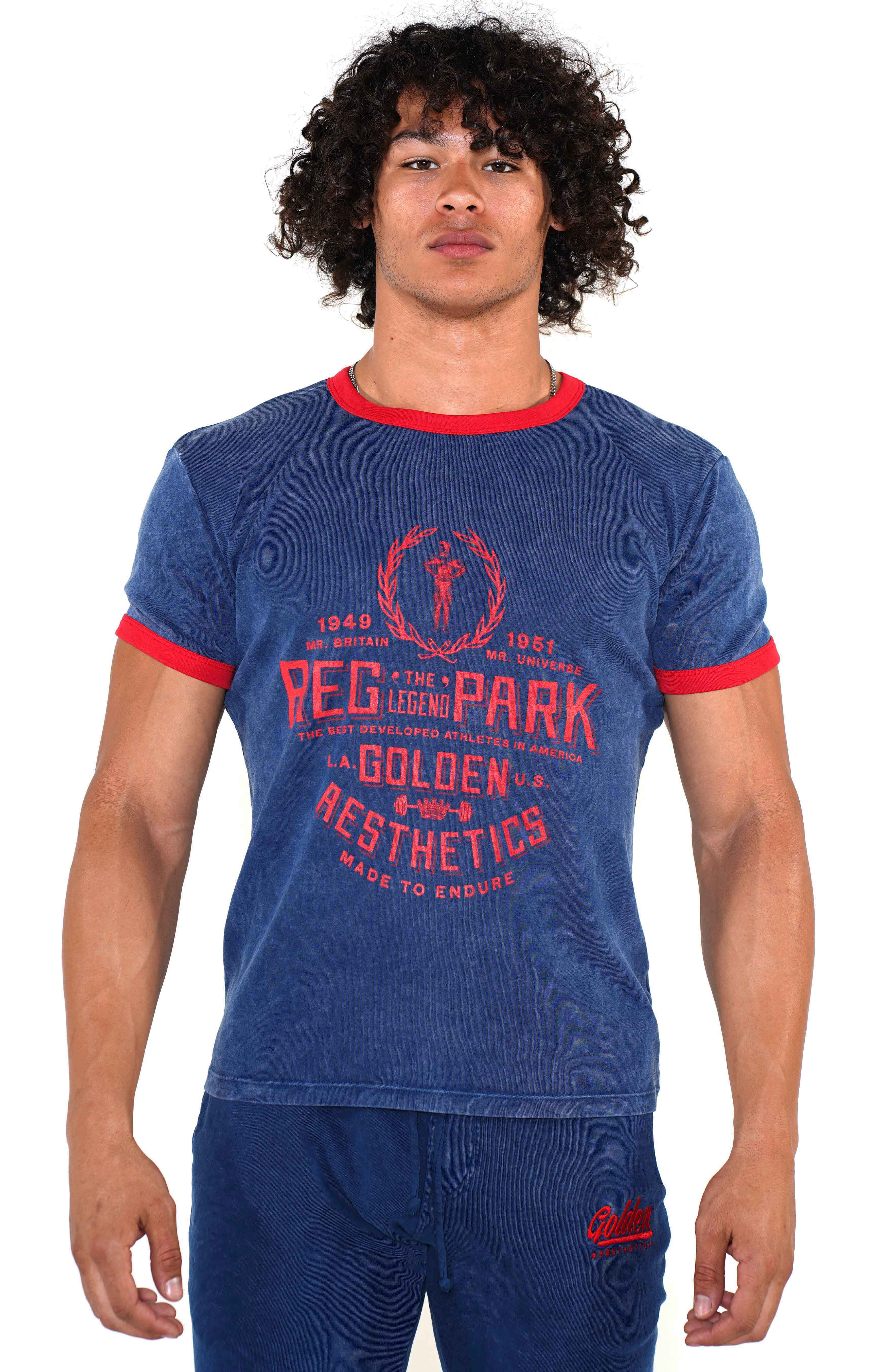 Men's Navy/Red Ringer T-Shirt - Golden Aesthetics