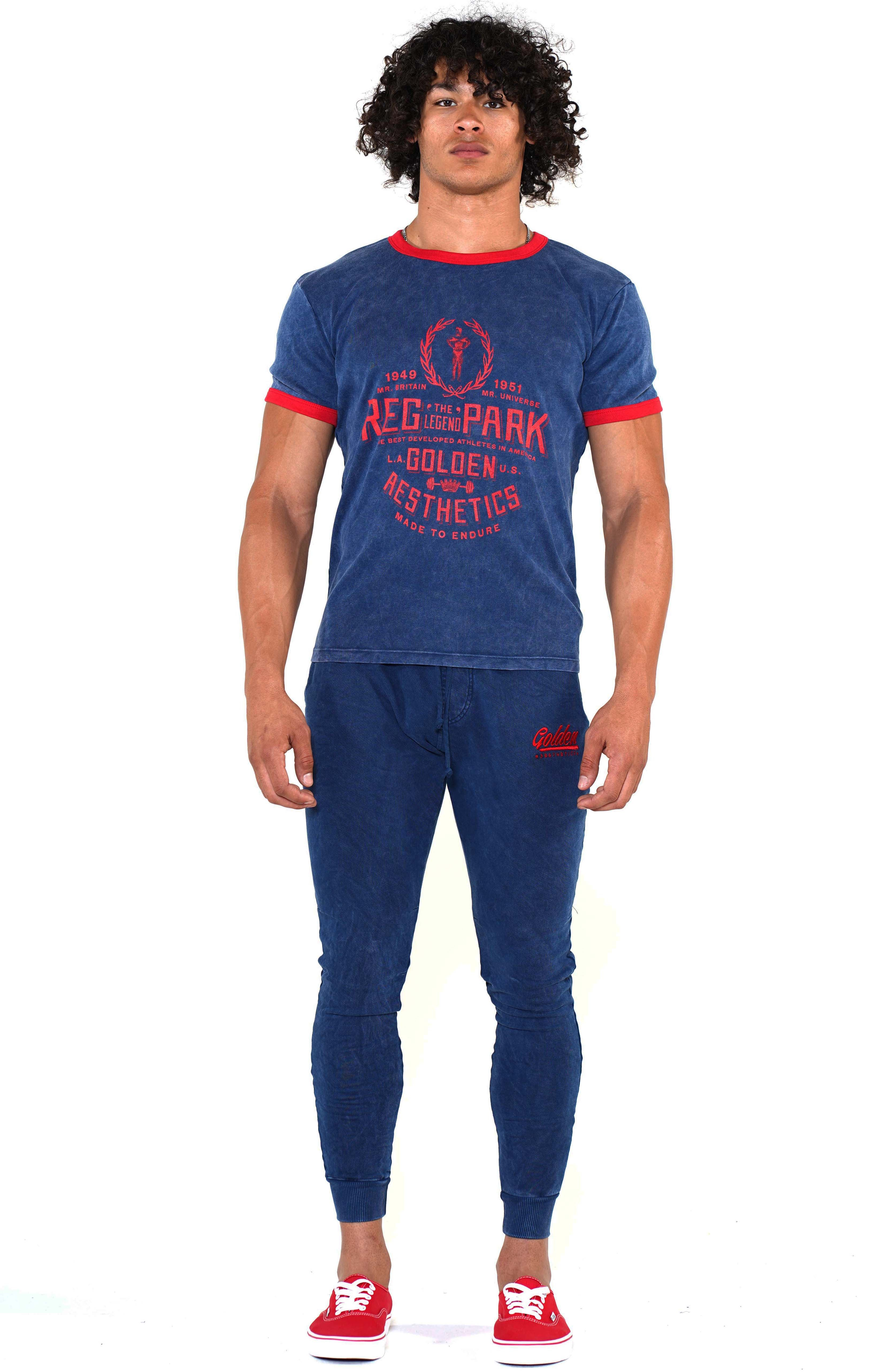 Men's Navy/Red Reg Park Ringer T-Shirt - Golden Aesthetics